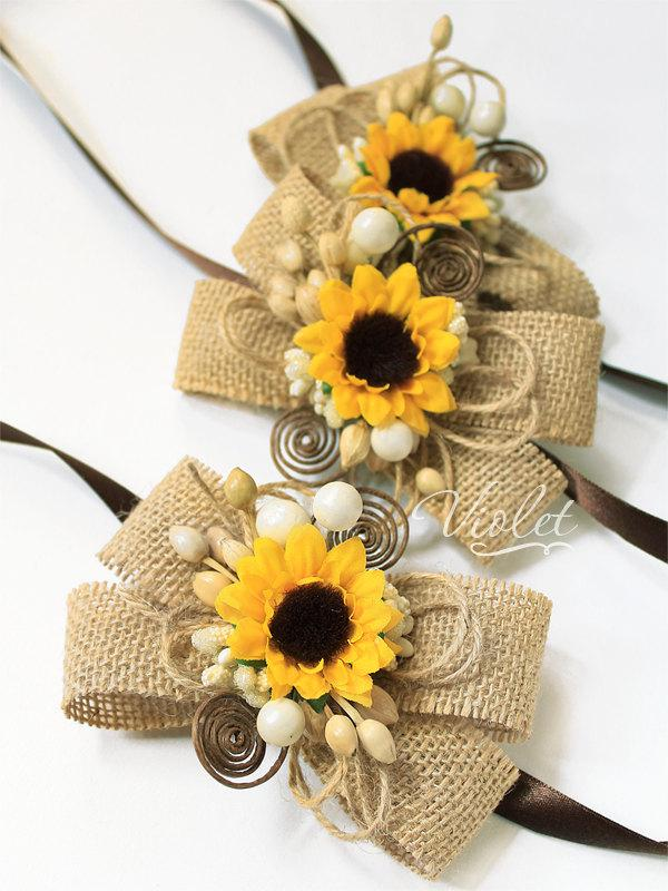 3 Rustic Sunflower Wedding Corsages Set Of 3 Bridesmaids Burlap Sunflower Bracelets Sunflower Brown Rustic Wedding Bridal Girl Accessories 2459903 Weddbook