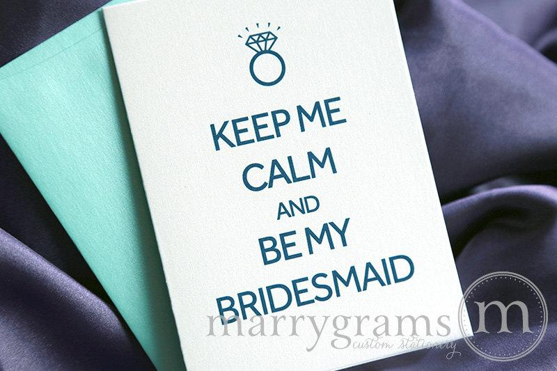Hochzeit - Will You Be My Bridesmaid Cards - Keep Me Calm & Be My - Matron of Honor, Wedding Party- Engagement - Fun Way, Cute Card to Ask Bridesmaids