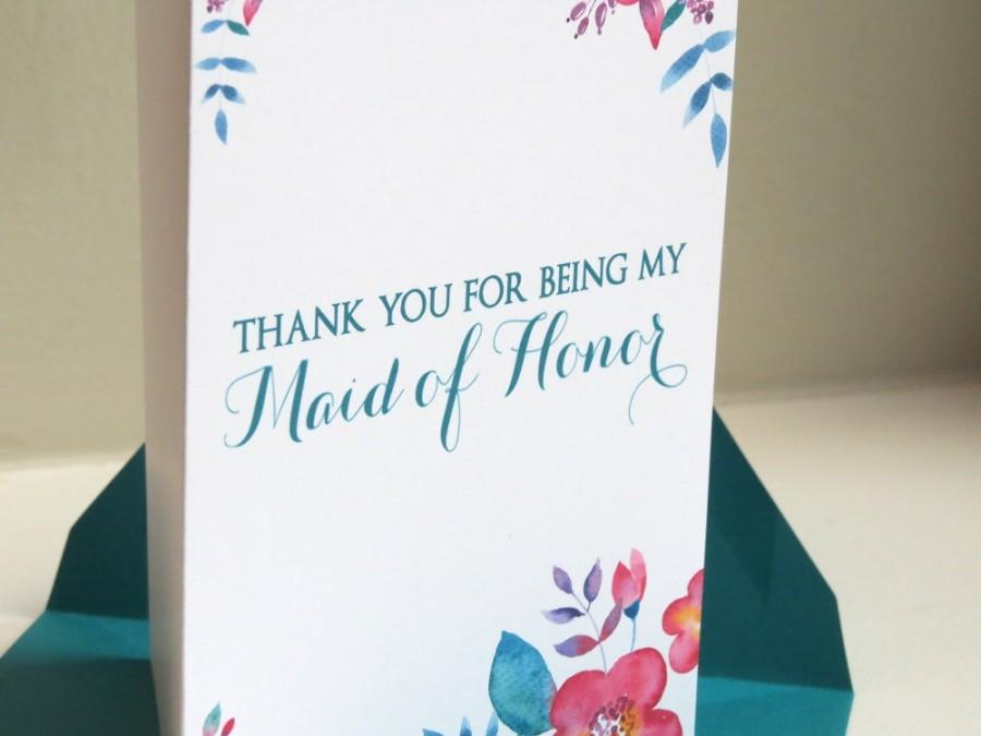 Hochzeit - Thank You For Being My Bridesmaid, Maid of Honor, Flower Girl Bridal Party Wedding Attendant Card - On Our Wedding Day