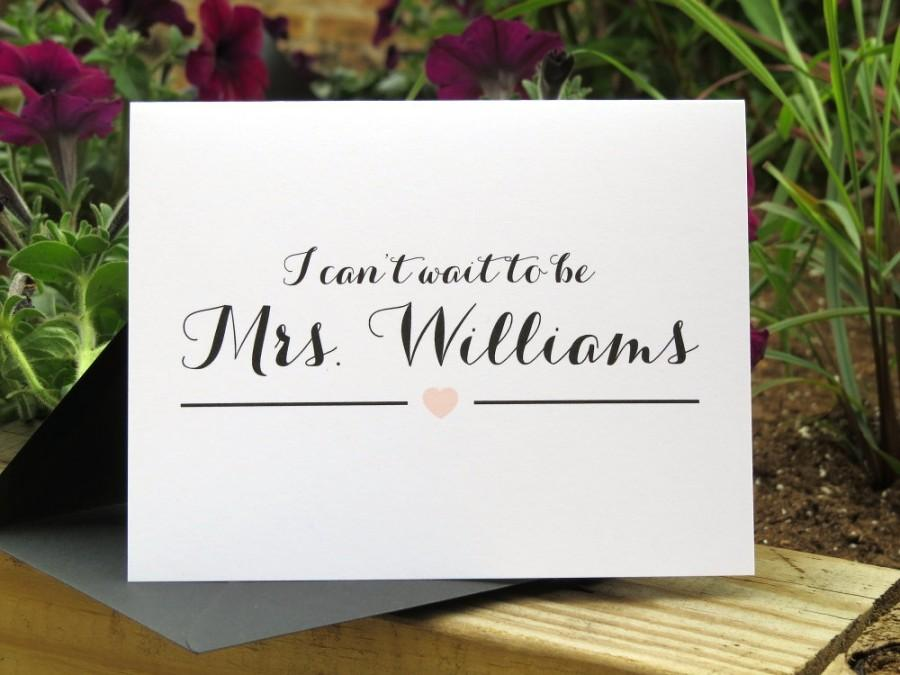 """Hochzeit - Custom Color Wedding Day Card for Your Groom, Fiance, Husband - """"I Can't Wait To Be Mrs..."""""""