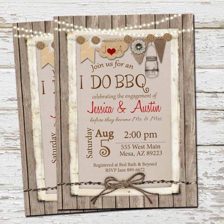 Hochzeit - I Do BBQ Invitation, Engagement Party, Burlap, Invite, Lights, Mason Jar, Rustic, Printable, Digital File, Personalized, 5x7,