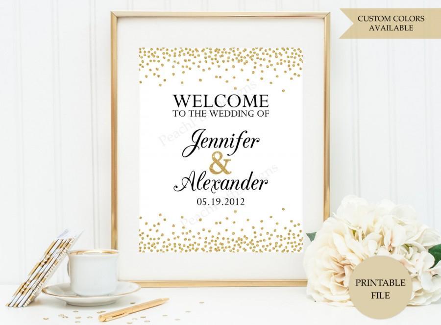 Wedding Welcome Sign Printable File Gold Wedding Welcome