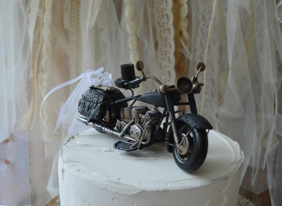 Motorcycle Wedding Cake Topper Motorcycle Topper Harley Davidson Themed Wedding Groom S Cake Topper Bride And Groom Rider Ring Holder Metal 2459955 Weddbook