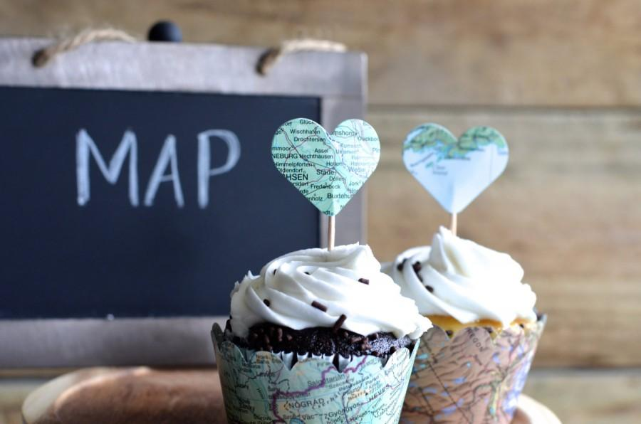 Wedding - Vintage Map Cupcake Wrappers, perfect for your adventure!