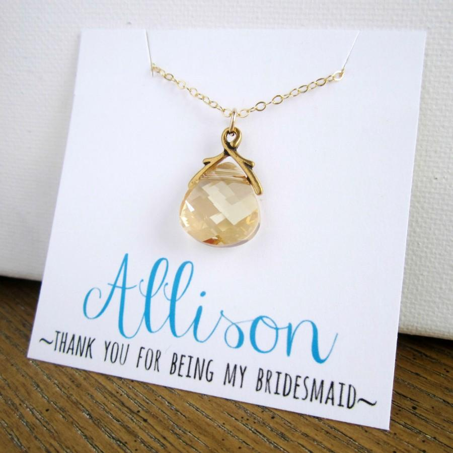 Gold Bridesmaid Necklace With Card, Personalized Name Card ...