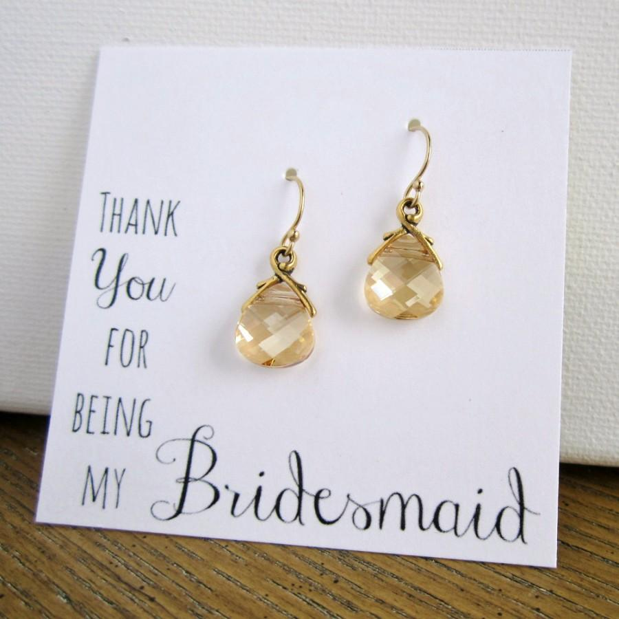 Свадьба - Gold earrings, Bridesmaid earrings, Bridesmaid gift, Thank You card, Swarovski champagne crystal earrings, antiqued gold teardrop earrings