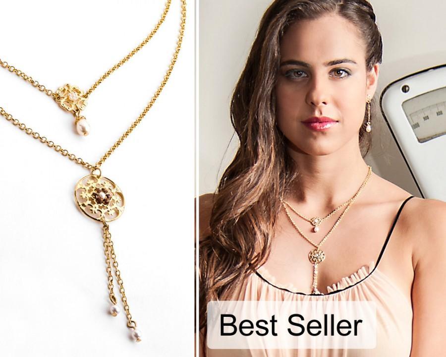 زفاف - Gold layered necklace, Layered necklace gold, Double strand necklace, Gold double necklace, Double layer necklace, Strand necklace