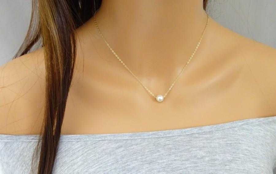 Bridesmaid Simple Swarovski Pearl Necklace In 14K Gold Fill Rose