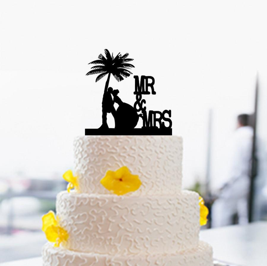 Beach Wedding Cake Topper-Personalized With Your Surname Cake Topper ...