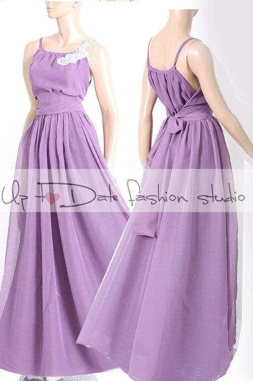 Mariage - Maxi  violet / chiffon  bridesmaid / evening / party /  dress