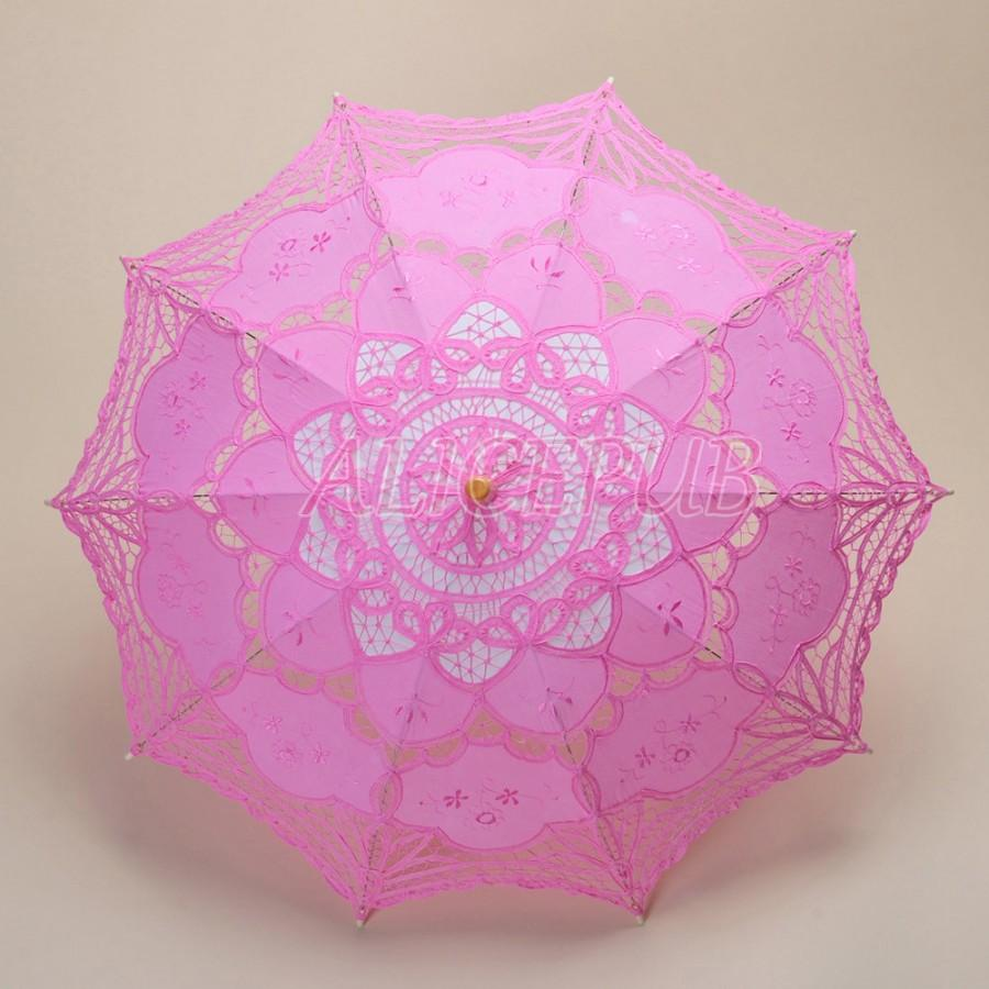 Lace Wedding Umbrella, Handmade Pink Lace Parasol, Bridal Umbrella ...