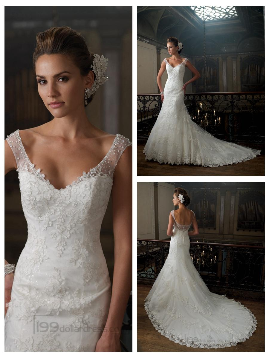 A Line Cap Sleeves V Neck Wedding Dresses With Deep Scoop Back
