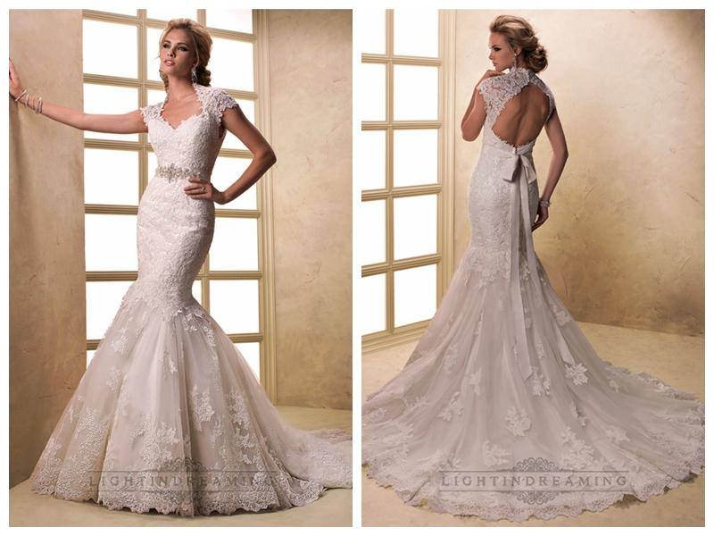Cap Sleeves V Neck Mermaid Lace Wedding Dresses With Keyhole Back