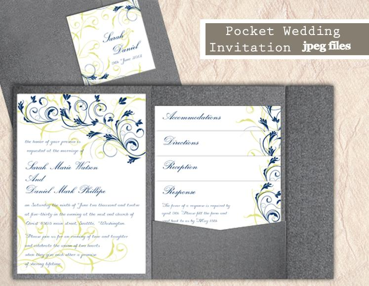 Свадьба - Printable Pocket Wedding Invitation Printable Invitation Floral Wedding Invitation Blue Invitation Download Invitation Edited jpeg file