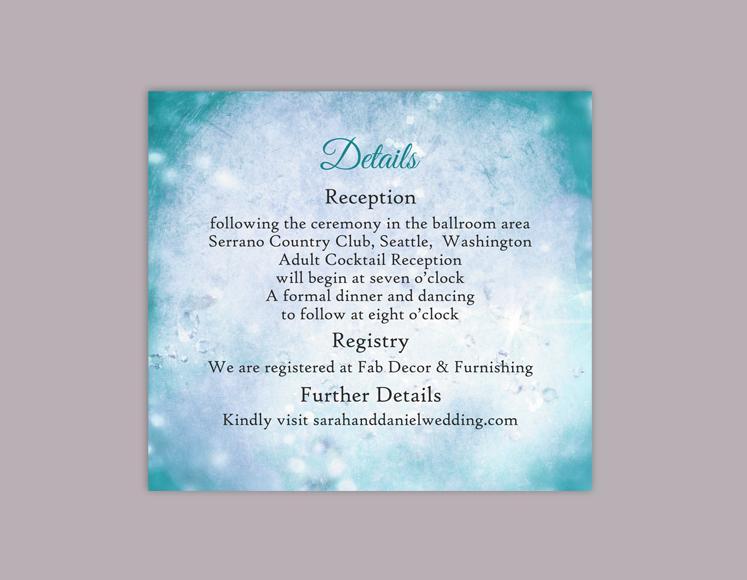 Свадьба - DIY Rustic Wedding Details Card Template Editable Word File Instant Download Printable Teal Details Card Blue Details Card Enclosure Card