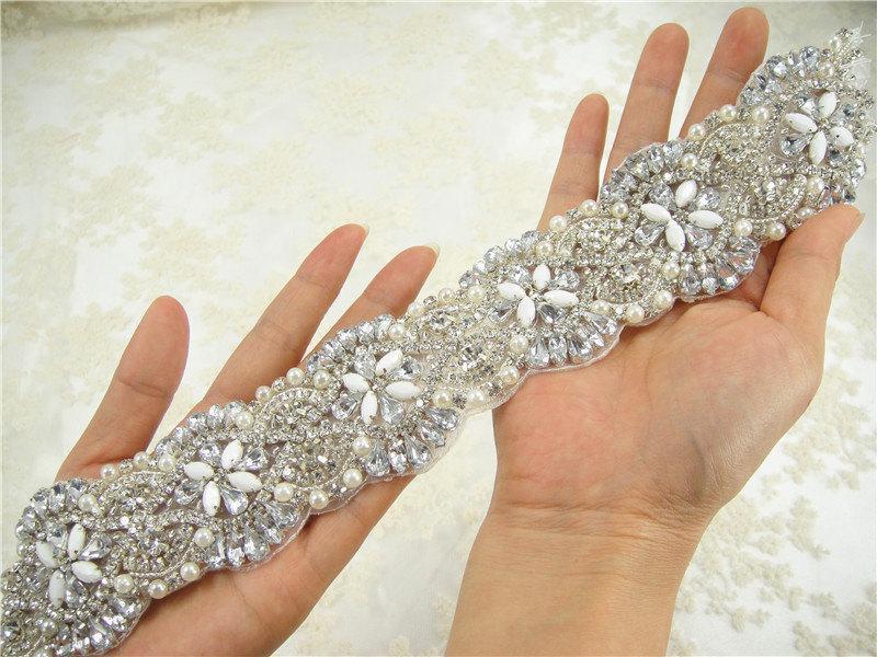 زفاف - Rhinetones trim for dress, sash,  bridal Sash applique, Wedding Crystal Applique, Wedding Rhinestone Applique,  wedding belt