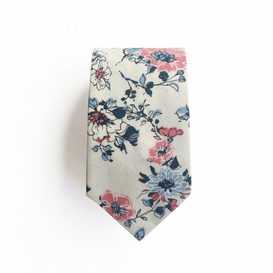 Mariage - Abbey Pink and Blue Floral Men's Tie, Skinny Tie
