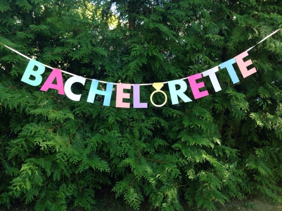 Wedding - BACHELORETTE BANNER- pink, gold, mint. Bachelorette party decorations.