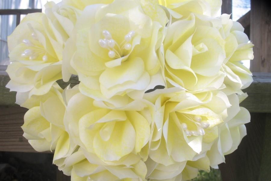 Handmade Yellow Paper Flower Bouquet. Wedding Bouquet, Bridesmaid ...