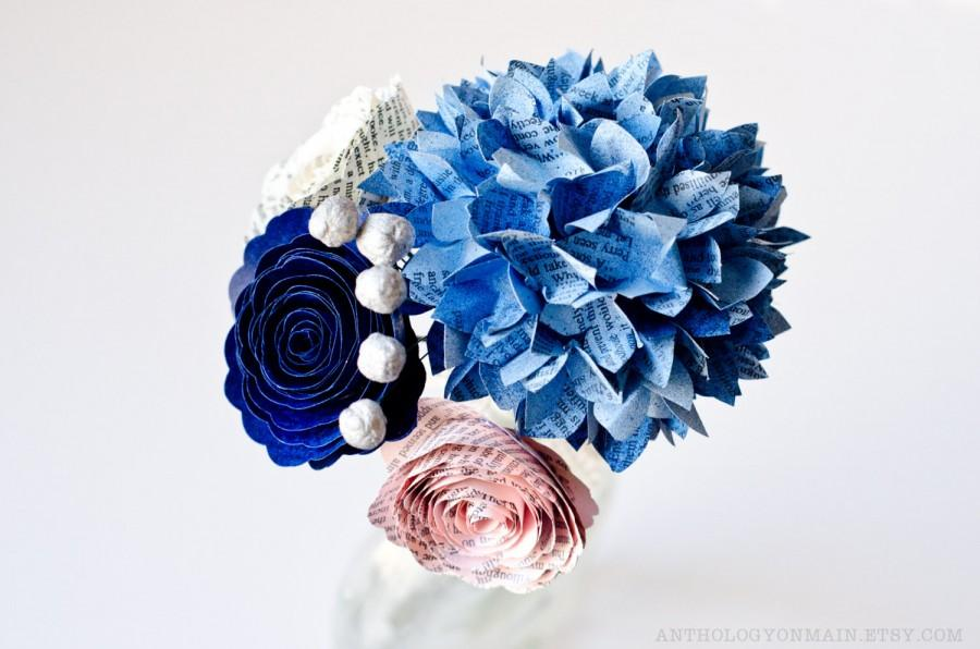 Toss or flower girl bouquet with hydrangeas roses brunia berries toss or flower girl bouquet with hydrangeas roses brunia berries made from books in your colors paper wedding flowers mightylinksfo