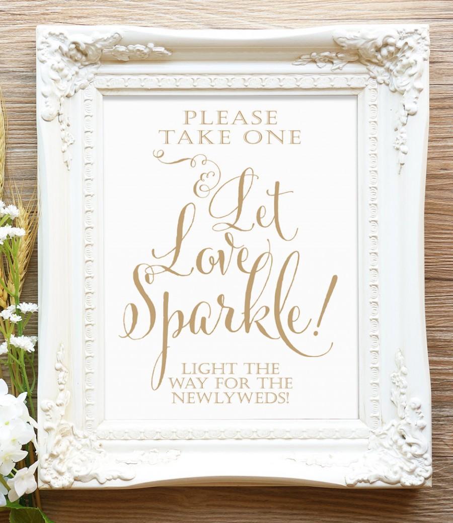"""زفاف - Let Love Sparkle - 8 x 10 sign - DIY Printable sign in """"Bella"""" antique gold - PDF and JPG files - Instant Download"""