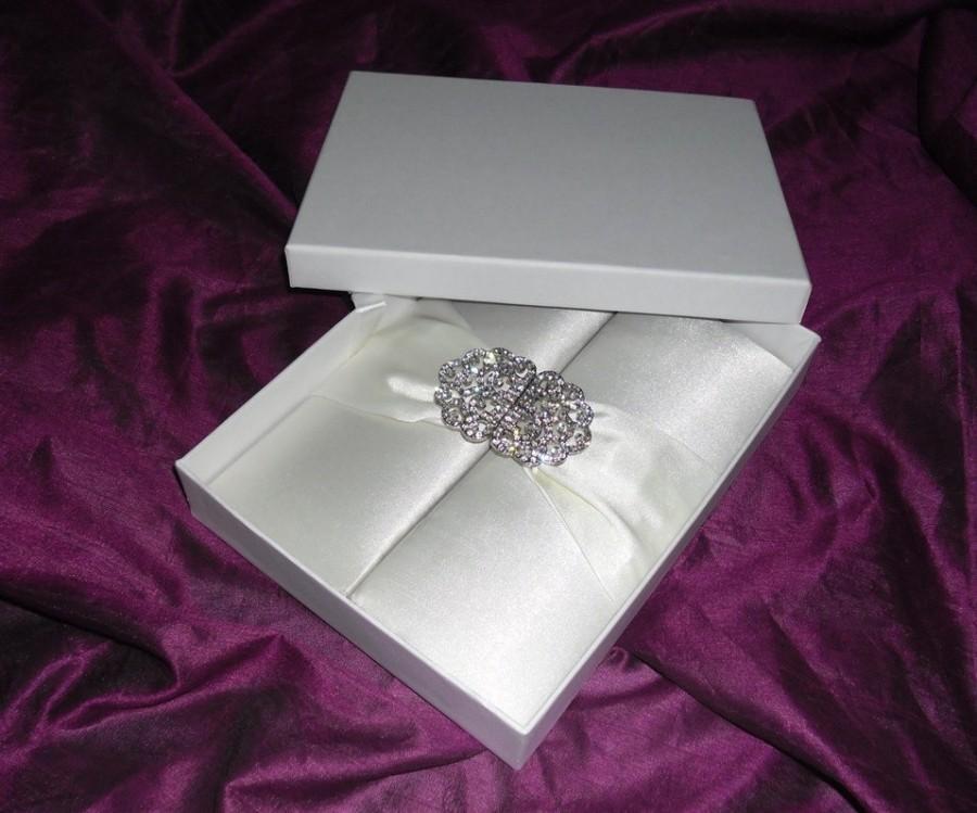 Fancy Ivory Satin Wedding Invitation Folio With Ribbon Swarovski Brooch W White Mailing Box Diy Silk