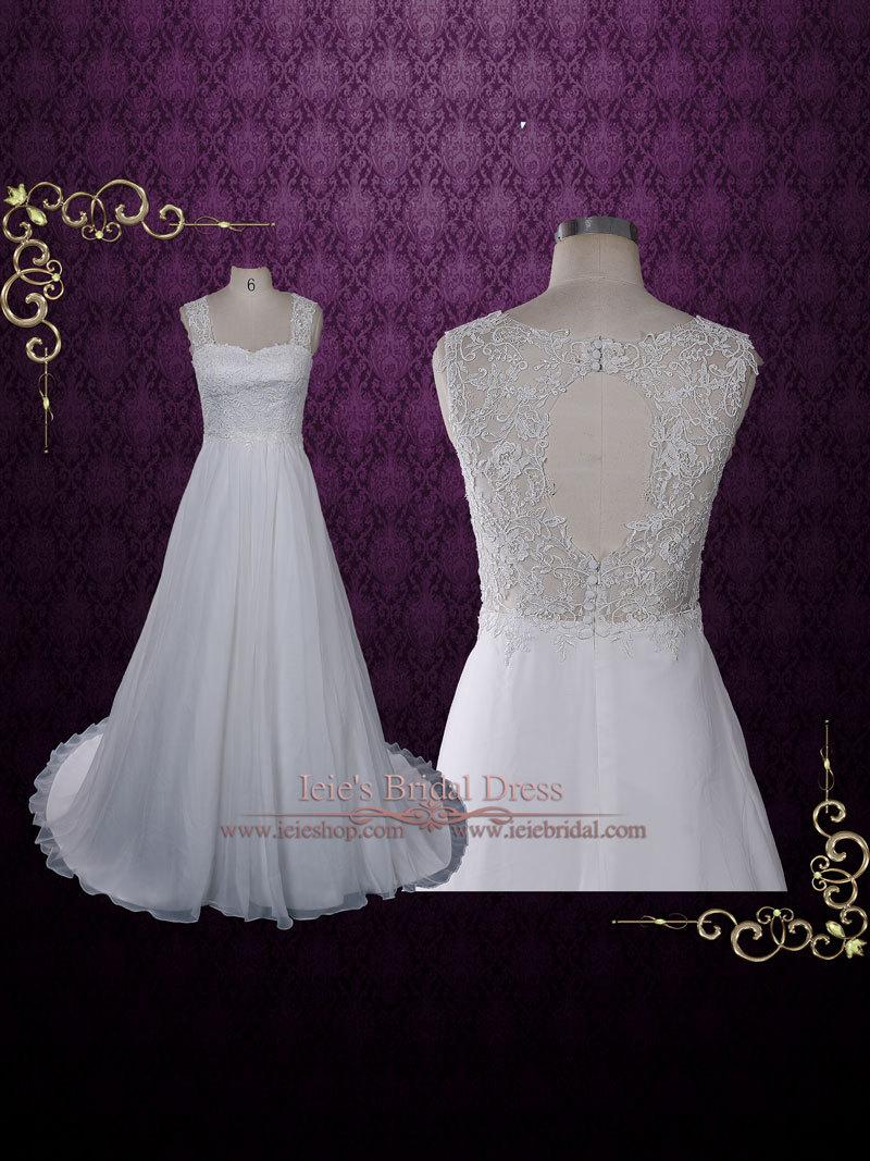Grecian lace chiffon wedding dress with lace keyhole back for Grecian chiffon wedding dress