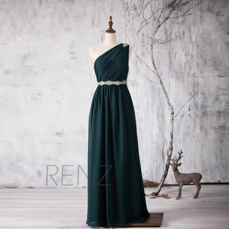 Свадьба - 2015 Dark Green Bridesmaid dress, One Shoulder Illusion Wedding dress, Beading Sash Prom dress Backless, Formal dress floor length (H158)