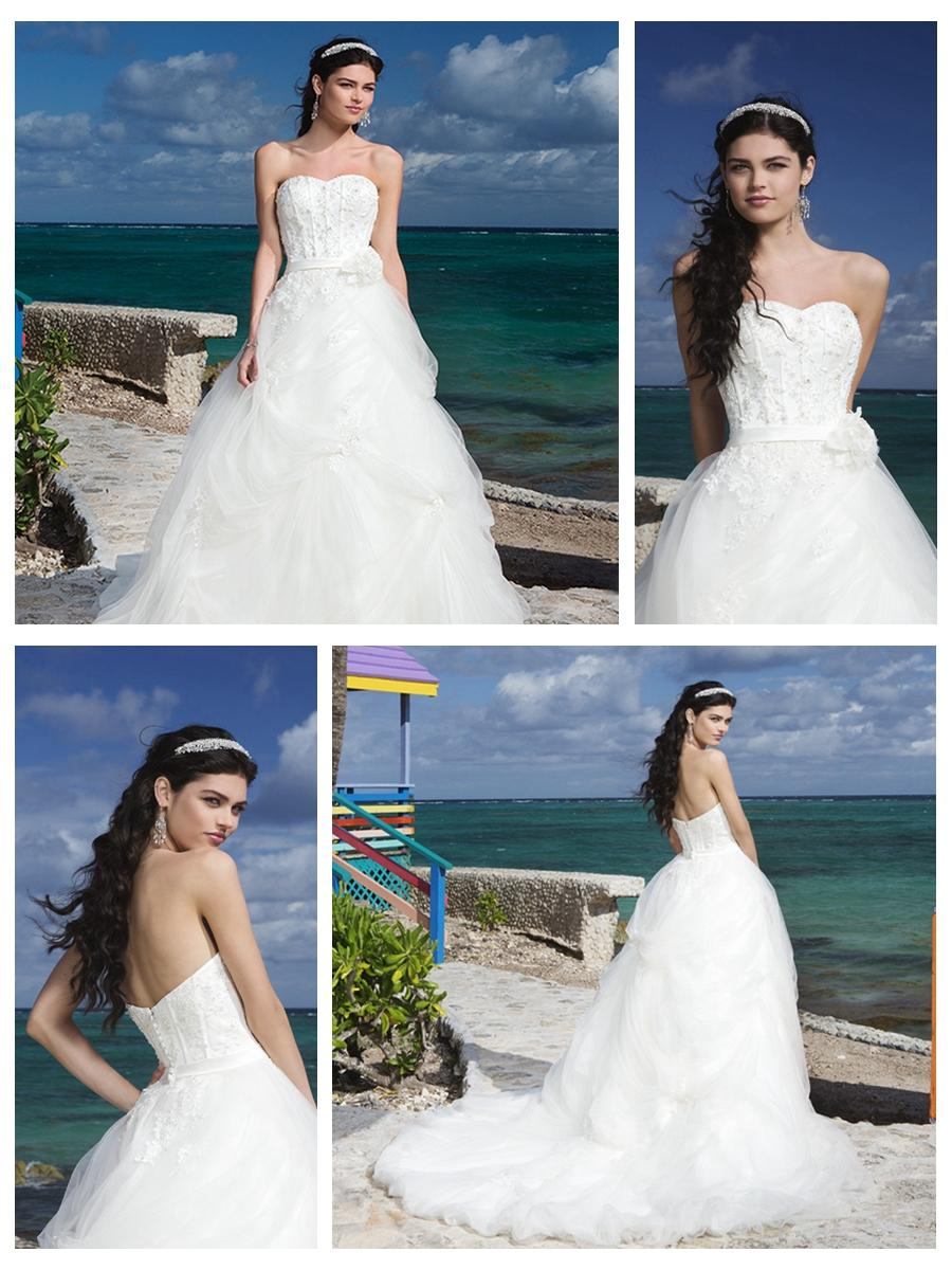 Wedding - Sweetheart Neckline And Satin Belt Bubble Pick Up Tulle Ball Gown