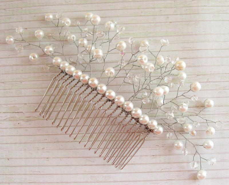 Mariage - White pearl comb White crystal hair comb Bridal hair accessories Silver hair comb White crystal headpiece Bridal hair comb Crystal comb