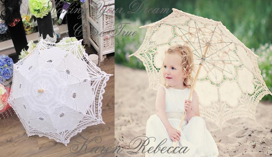 For Wedding Flower Handmade Ivory Battenburg Lace Vintage Umbrella Parasol