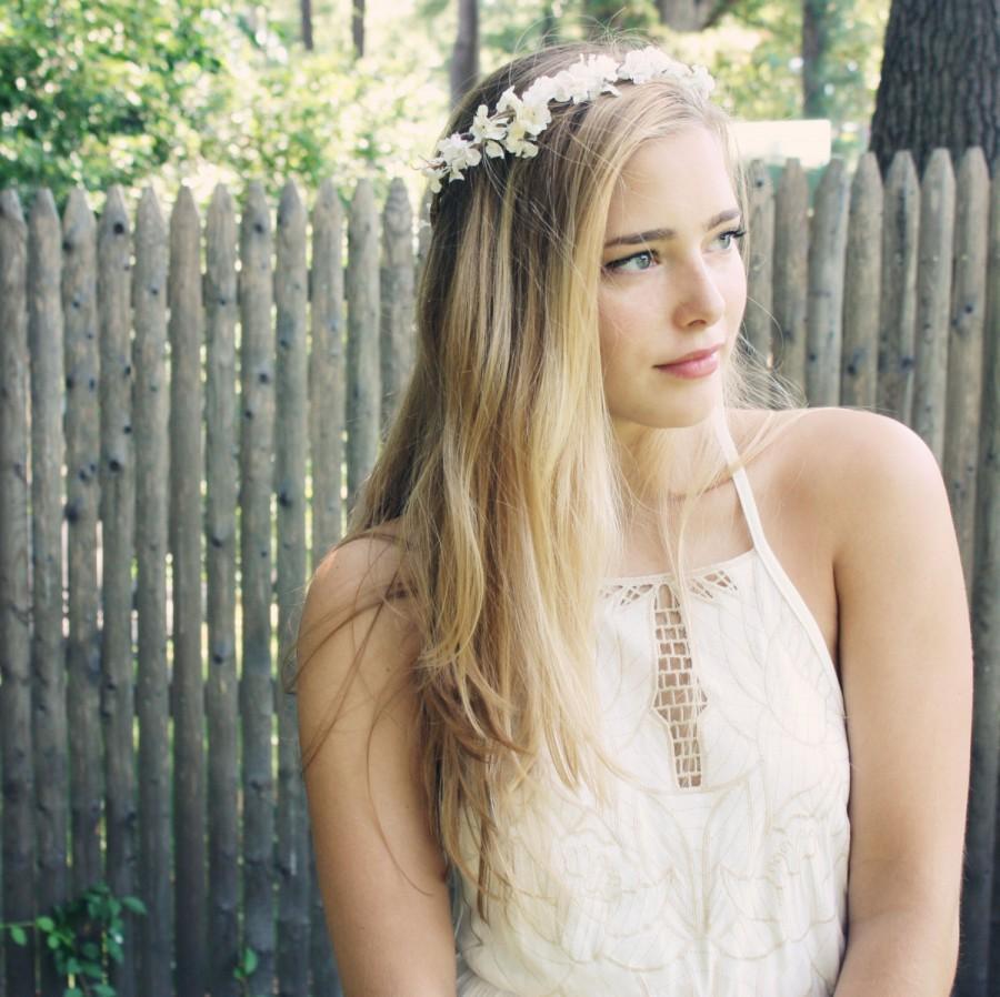 زفاف - Boho wedding wreath, flower crown, rustic woodland wreath, wedding headband, bridal crown, wedding crown, boho wedding crown