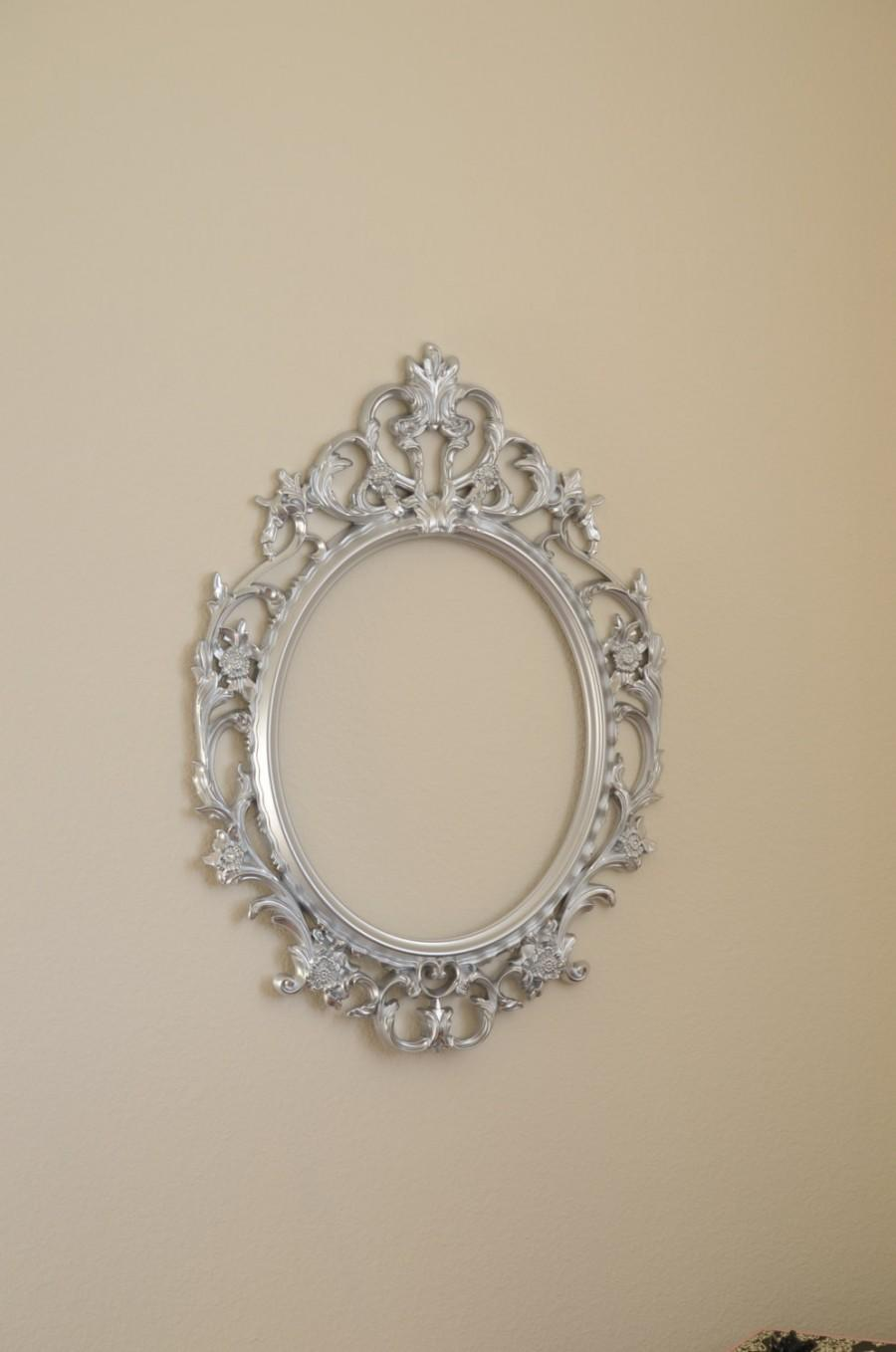 silver baroque frame photo booth prop silver large oval ornate wedding frame only