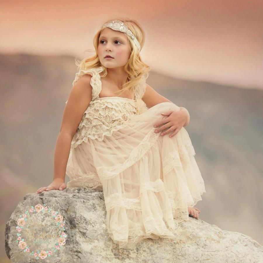 Girly Rustic Chic Bedroom: Flower Girl Dress, Rustic Flower Girl Dress, Vintage