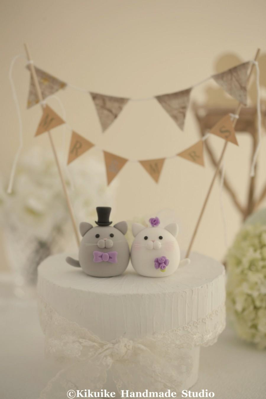 Wedding - kitty and Cat wedding cake topper