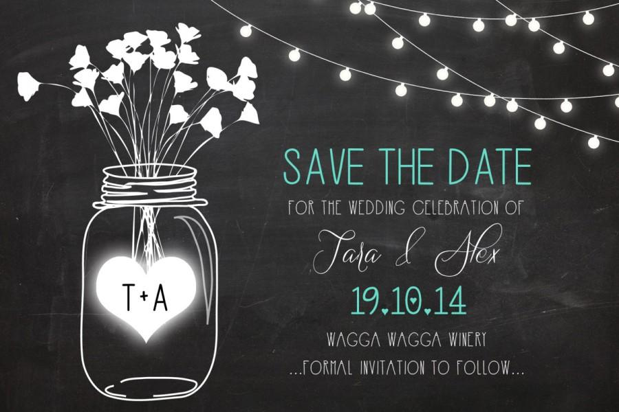 Blackboard Mason Jar Save The Date DIGITAL FILE ONLY #2460171 ...