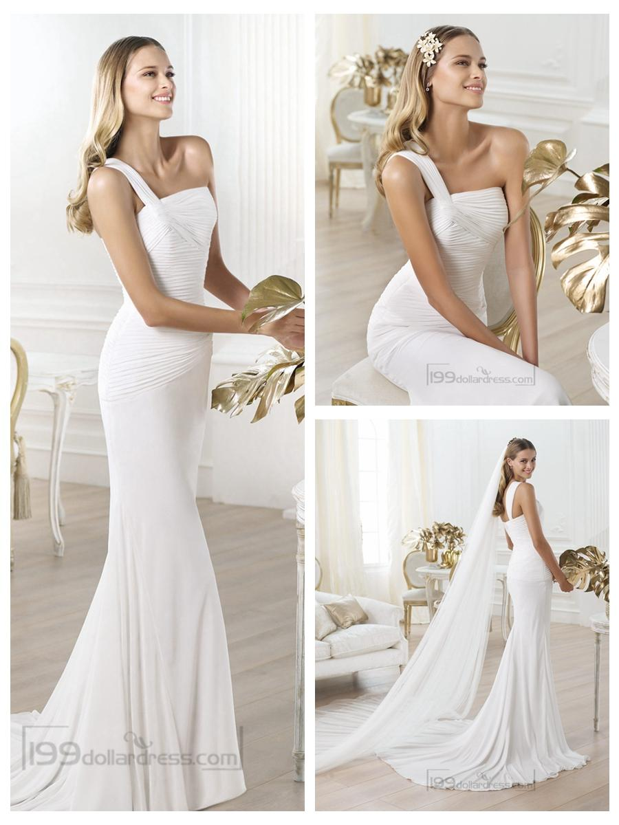 Wedding - One-shoulder Asymmetric Draped Bodice Wedding Dresses with Flared Skirt