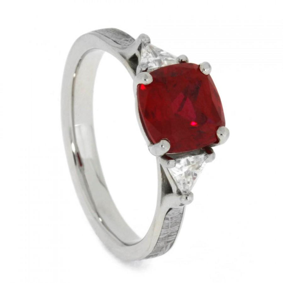 Wedding - Antique Square Ruby Engagement Ring With Trillion Cut Moissanites, Palladium Ring With Meteorite Inlays, Gemstone Engagement Ring