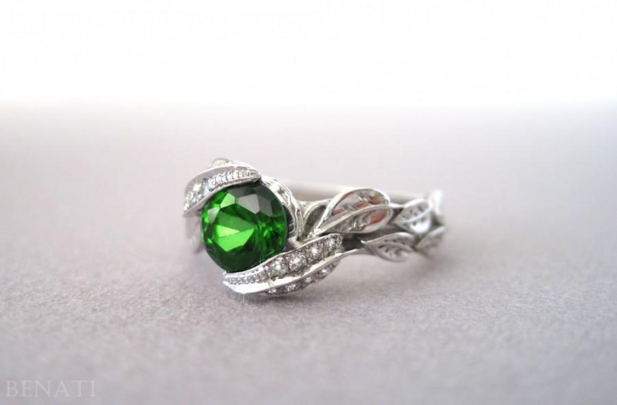 Wedding - Diamond Leaves Engagement Ring, Diamond Leaf Engagement Ring, Diamond Leaf Ring & Green Gemstone, Natural Floral Leaves Engagement Ring