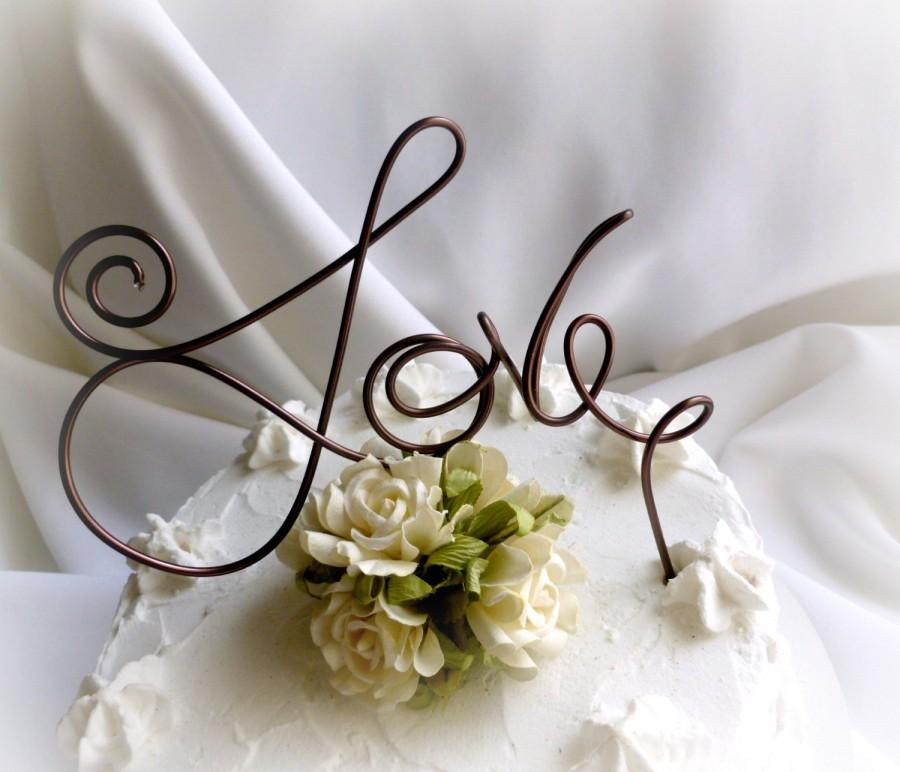 Свадьба - Modern Engagement Cake Topper, Rustic Wedding Decor, Love