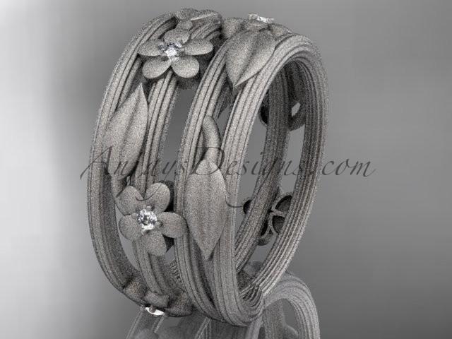 Hochzeit - 14kt white gold diamond leaf and vine, floral wedding band ADLR242B