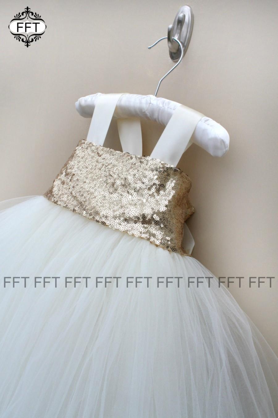 Wedding - Gold Sequin Flower Girl Tutu Dress