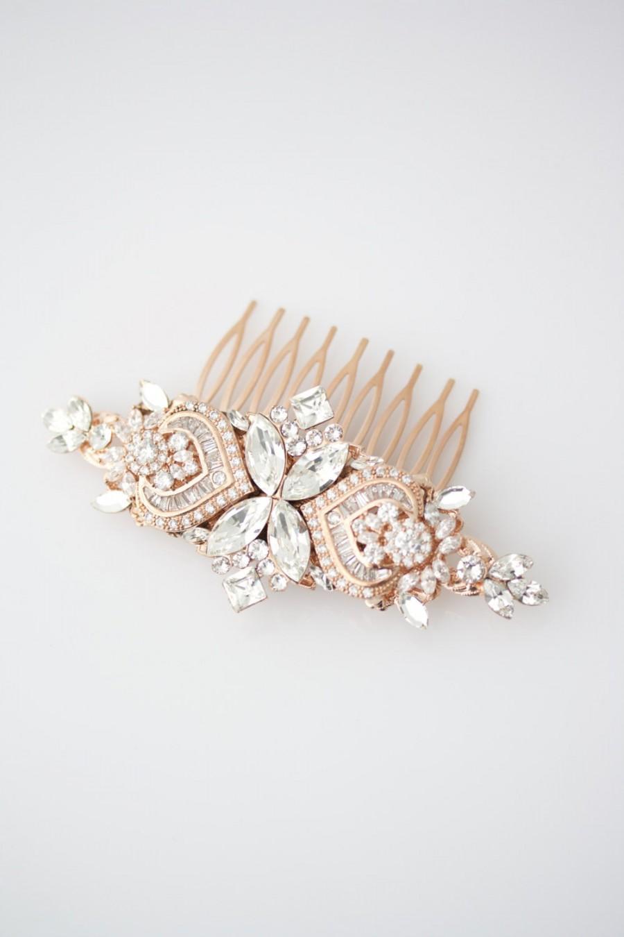 Rose gold wedding hair accessories - Wedding Hair Accessories Rose Gold Hair Comb Crystal Bridal Comb Rose Gold Headpiece Wedding Headpiece Rhinestone Comb Evie