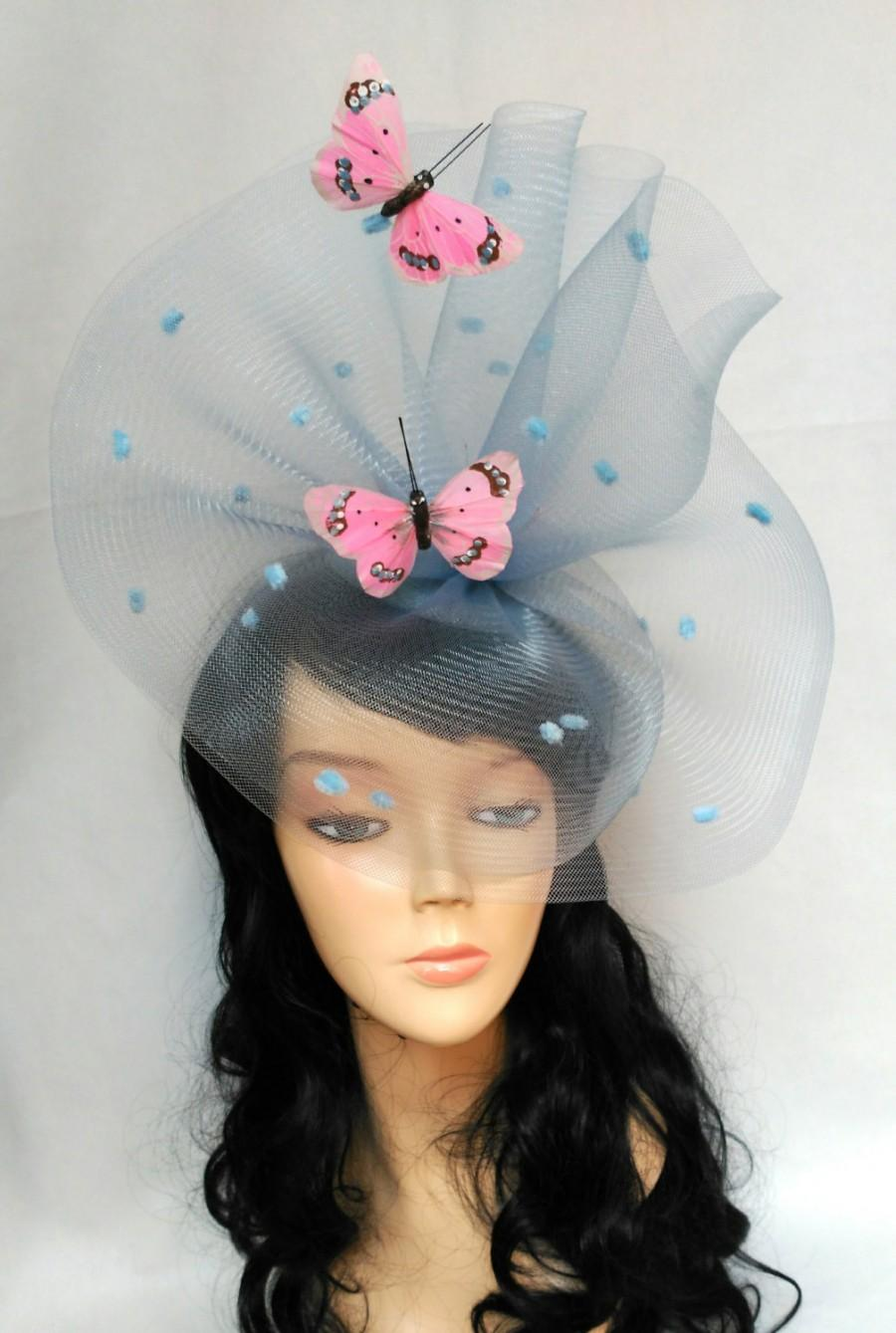 f5a286ee Pale blue fascinator with pink butterflies,Kentucky derby hat,Blue and pink  fascinator,Butterfly hat with veil,Net fascinator,Light blue hat
