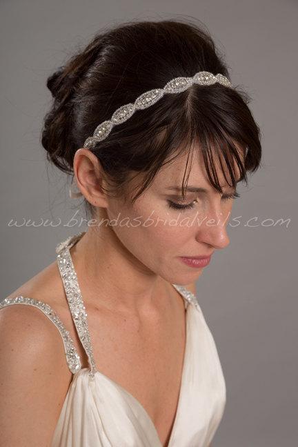 Mariage - Rhinestone Ribbon Tie On Headband, Wedding Hairband, Bridal Headband - Sybil