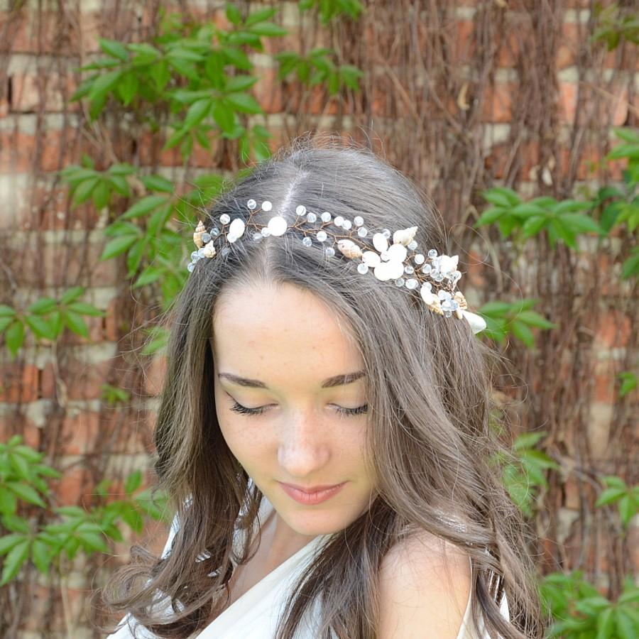 beach wedding hair vine, sea shells and crystal tiara, nautical