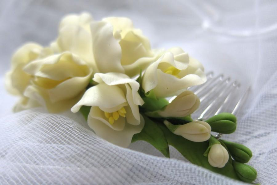 Freesia ivory bridal flower comb blossom comb wedding flower freesia ivory bridal flower comb blossom comb wedding flower comb flower comb cold porcelain flower hair accessory mightylinksfo
