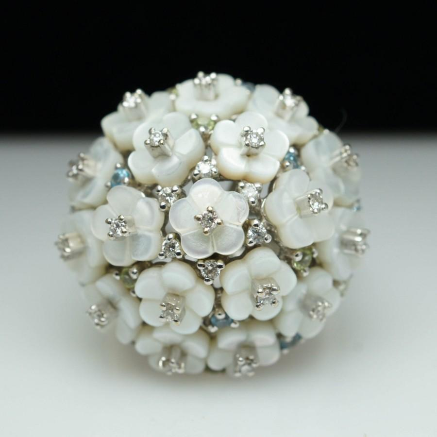 Diamond Mother Of Pearl, Peridot & Blue Topaz Cocktail Ring 18k White Gold  Cluster Ring Vintage Pearl Jewelry Pearl Dome Ring