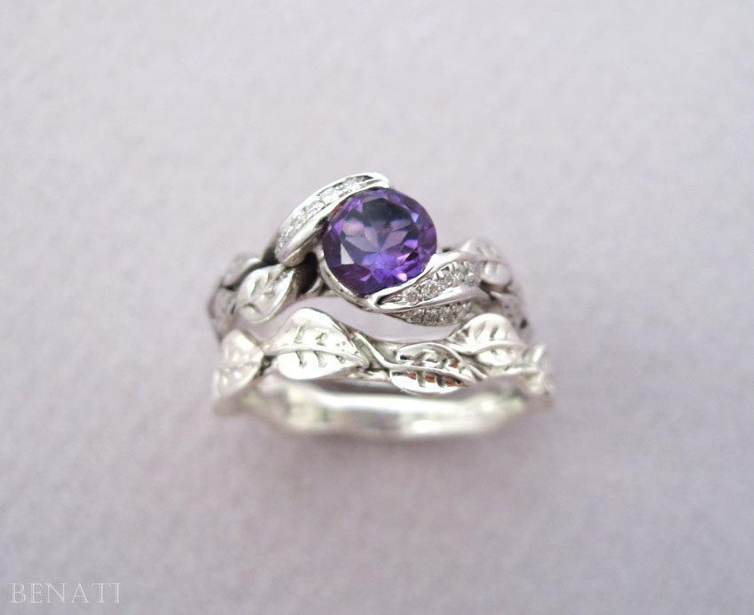 Hochzeit - Leaf Ring Wedding Set, Leaf Ring Engagement Set, Leaves Ring Set, Leaf Ring Set, Leaf Wedding Ring Set, Engagement Leaf Ring Set, Gold leaf