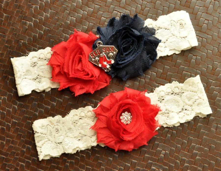 Boston Red Sox Wedding Garter Set Bridal Ivory Lace Baseball